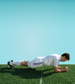 7.1 STATIC Starting position: Lie on your front, support upper body with forearms. Elbows directly under shoulders.