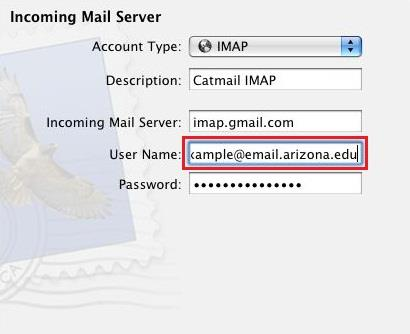 2. The first screen in Add Account is simply your name, your full email address, and your password. Please note that this password is your CatMail Secondary Password, not your regular Net ID password.