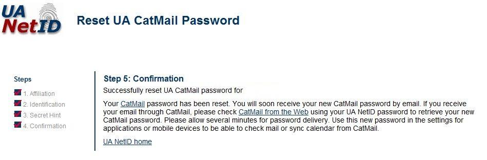A new CatMail Secondary Password will be sent to