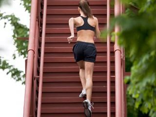 Stair Workouts Get in Shape: Step up Warning: If you feel any knee pain, refrain from continuing that particular exercise.