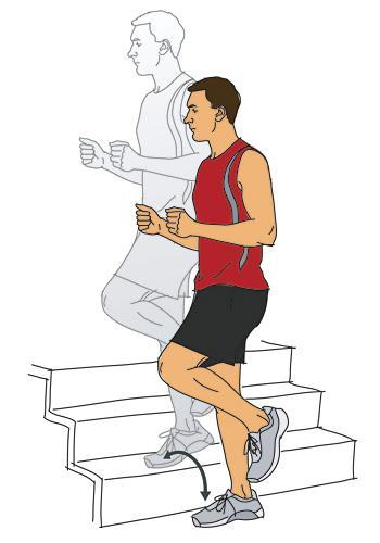 Intervals Level: Beginner/Advanced Combine walking or running up stairs with calisthenic exercises (push-up, lunges, squats, lunges, sit ups) Climb one