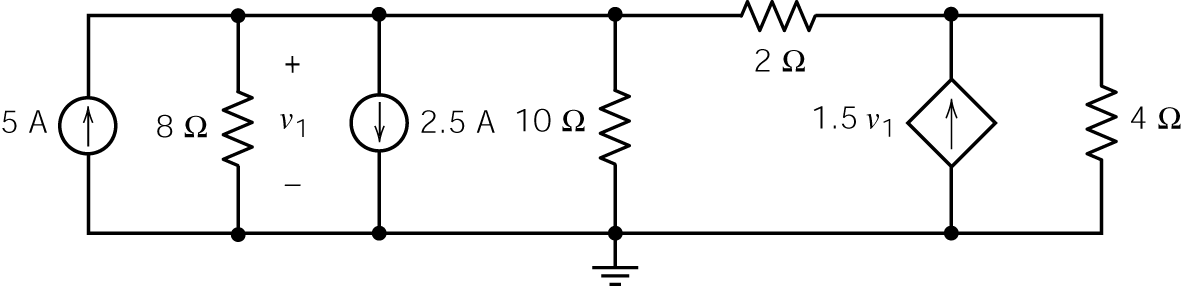 Example: Determine the power supplied by each of the sources, independent and dependent, in this circuit: Solution: We ll begin by choosing the bottom node to be the reference node.