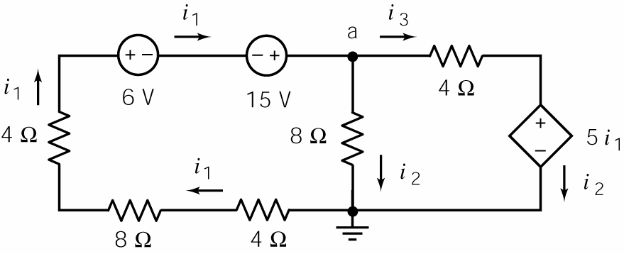 Obseration: Changing the order of the two 4 Ω resistors, an 8 Ω resistor and the two independent oltage sources in the left mesh changes the order of