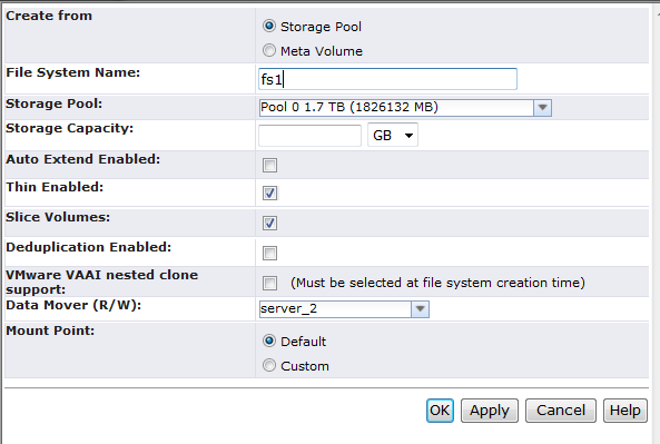 EMC Confidential Chapter 5: VSPEX Configuration Guidelines Figure 49. Create file system dialog box The newly created file system appears on the File Systems tab. 9. Click Mounts. 10.