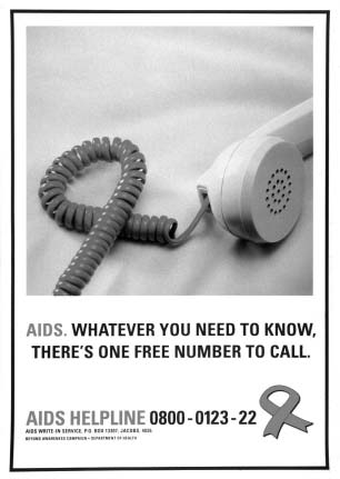 Appendi A South Africa s AIDS Helpline The hotline received wide promotion in newspapers and magazines, on outdoor media including billboards and transportation, and on the radio and limited TV.