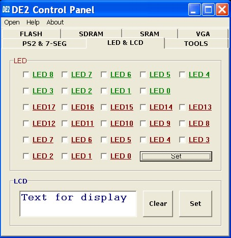Figure 3.4. Controlling LEDs and the LCD display. 3.3 SDRAM/SRAM Controller and Programmer The Control Panel can be used to write/read data to/from the SDRAM and SRAM chips on the DE2 board.