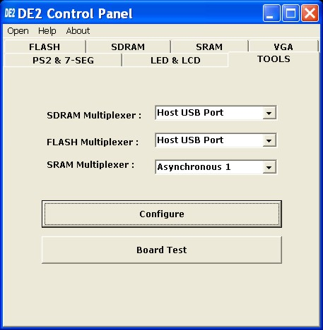 Select the TOOLS page and choose Asynchronous 1 for the SRAM multiplexer port as shown in Figure 3.10.