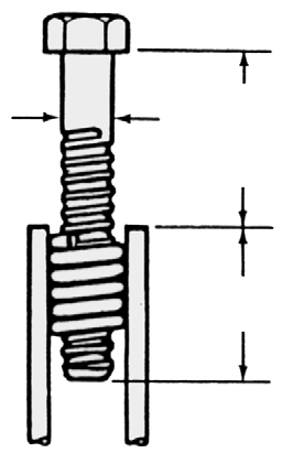 See Coils through B14 Coil Bolts and Minimum Coil Penetration Information in this section, and the illustration below for determining overall length of required bolts.