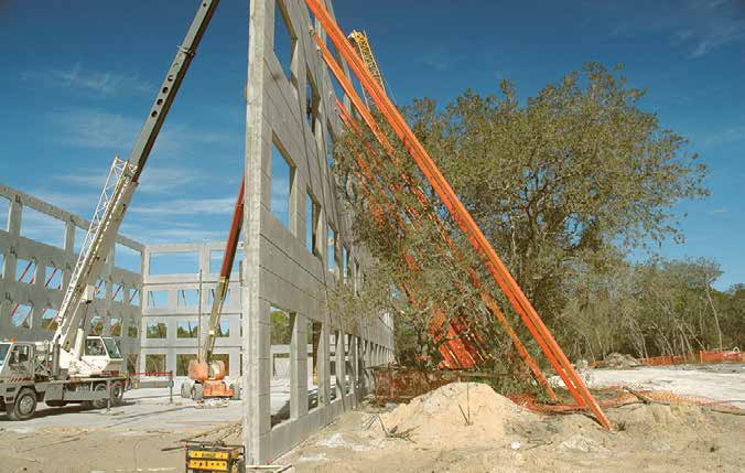 Braces A high-capacity brace designed to allow increased brace spacing for temporary stabilization of concrete wall panels.