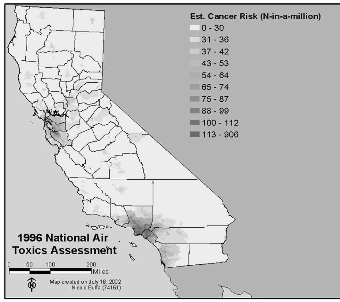 Map 3 Estimated Cancer Risks in California Source: California State Environmental