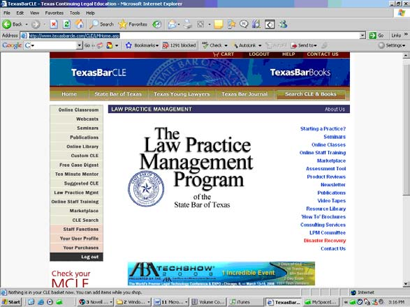 TexasBarLPM.com The Law Practice Management Program has a really comprehensive site with some really innovative features. Like TexasBarCLE.