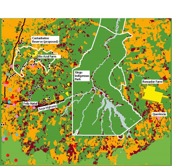 28 Soya invasion around Xingu Indigenous Park and the proposed Parque Estadual das Castanheiras Park/reserve boundaries Soya