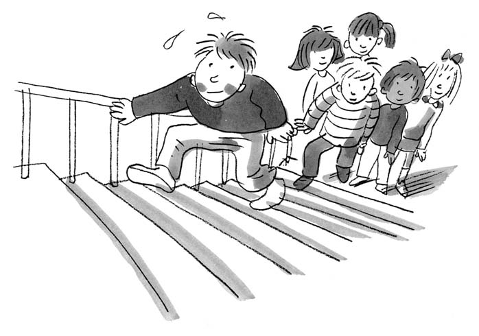 46 Upstairs, Downstairs How to Play: The children line up at the bottom of a flight of stairs.