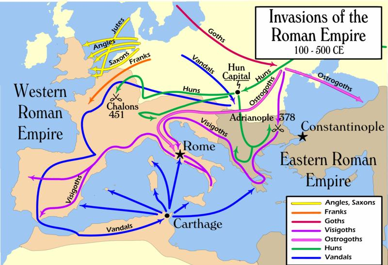 Notice how Eastern Europe and Constantinople are not invaded. Western Europe and the old Roman Empire is destroyed.
