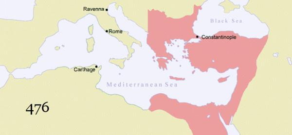 Map of the changes in borders of the Byzantine Empire.