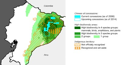 Figure 12: Chinese Oil Concessions, Biodiversity, and Indigenous Territory, Ecuador Source: Ray and Chimienti 2015.