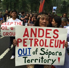 Image 3: Kichwa and Sápara Leaders Protest Andes Petroleum in New York City, 2014 concerns in a proactive way as well as to form working relationships with environmental safety personnel at the
