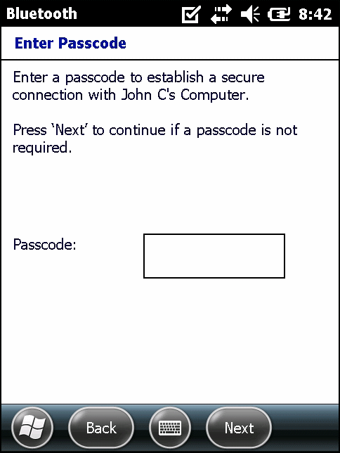The Enter Passcode window appears.