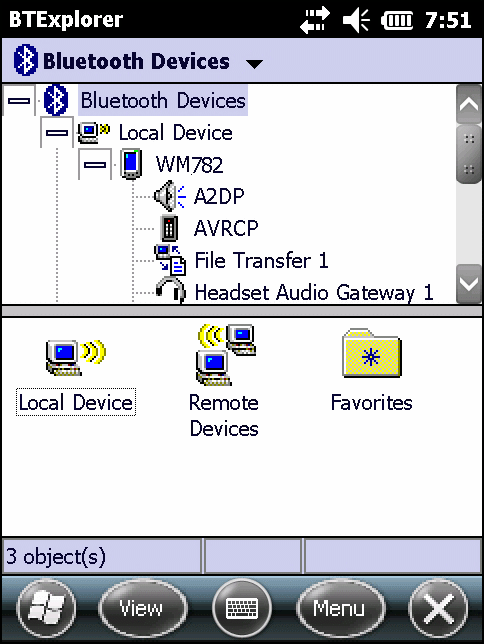 Bluetooth 7-17 Figure 7-11 Explorer Mode Window Use the tap and hold technique to view available options. Scroll bars and view options are similar to those on the Windows desktop.