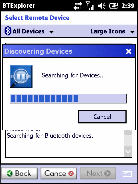 If a device discovery has previously been performed, the device discovery process is skipped, and the previously found list of devices displays.