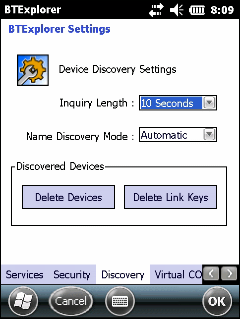 7-40 MC67 User Guide Figure 7-39 BTExplorer Settings - Discovery Table 7-15 Discovery Data Item Description Inquiry Length Name Discovery Mode Discovered Devices - Delete Devices Discovered Devices -