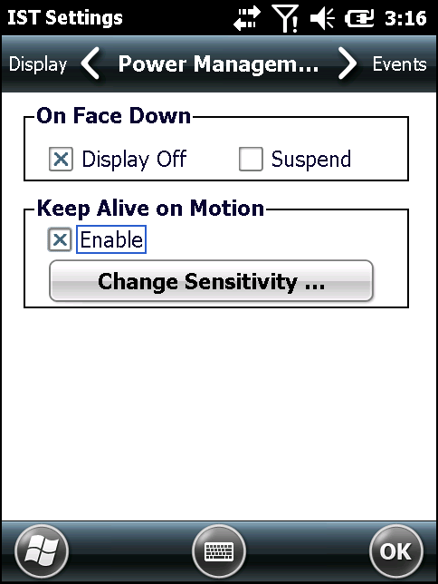 Settings 9-9 Figure 9-6 Power Management Tab On Face Down The On Face Down section provides configurable options to control what happens when the MC667 is placed with the display face down.