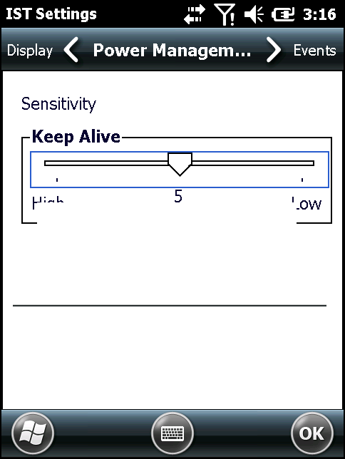 9-10 MC67 User Guide Figure 9-7 Set IST Sensitivity Window Events Tab Use the Event tab to enable or disable free fall sound and facilitates to set the free fall sound file as desired.