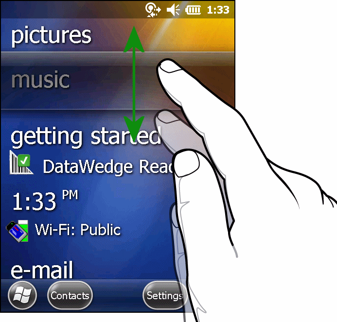 Remove finger and the Information Status bar and application name center in the screen.