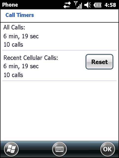 4-8 MC67 User Guide Figure 4-7 Call History - Call Timers 5. Tap Reset. (The All Calls: counter cannot be reset.) 6.