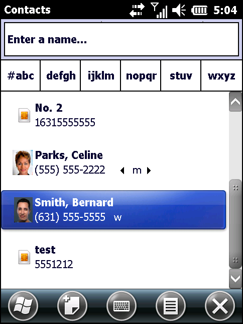 4-14 MC67 User Guide 1. Tap > Contacts. Figure 4-17 Contacts 2.