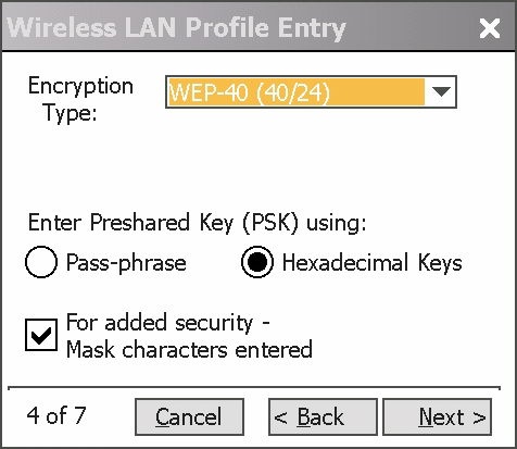 In the Encryption Type drop-down list, select WEP-40 (40/24). Figure 5-5 Encryption Dialog Box 12.