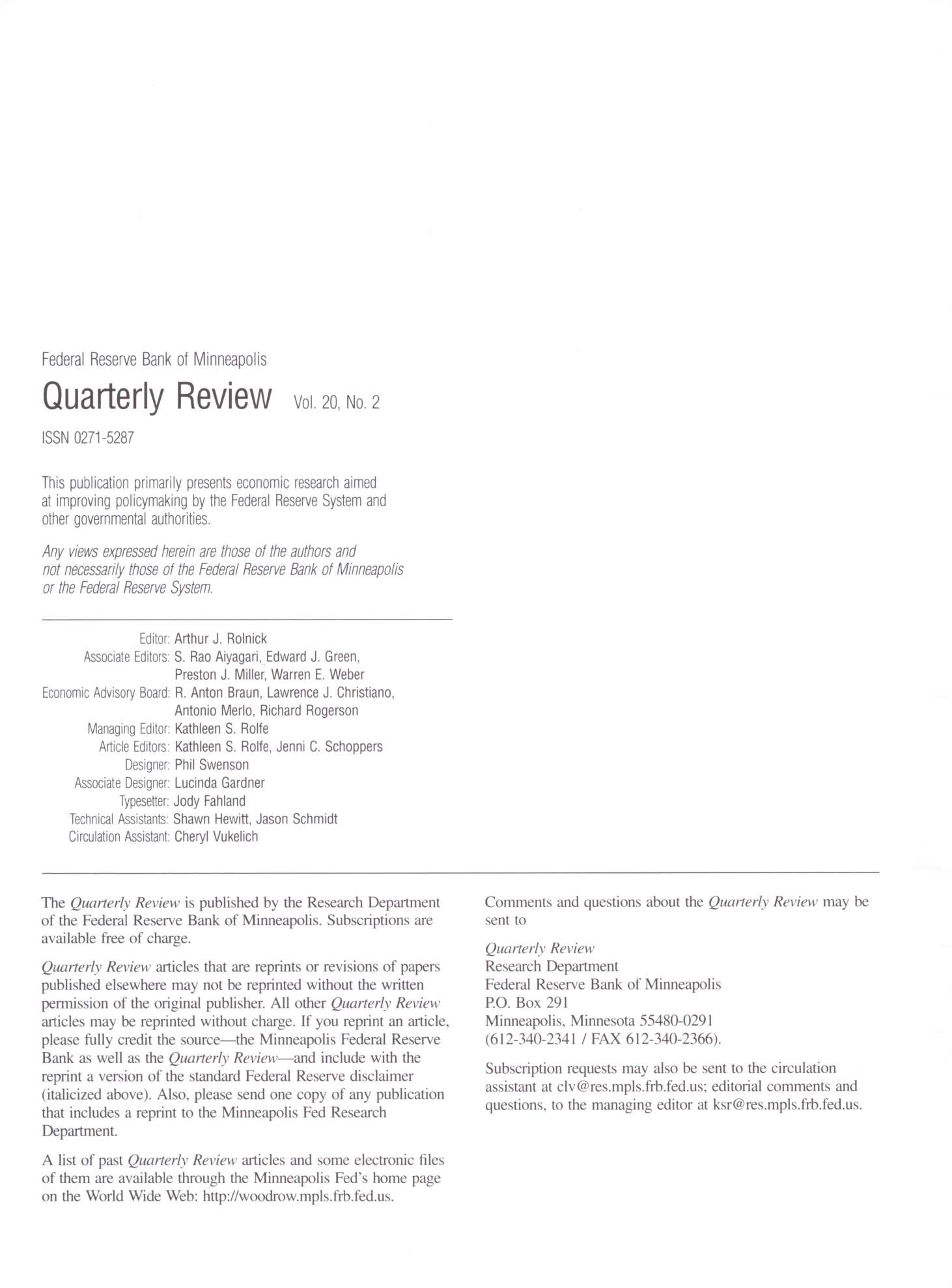 Federal Reserve Bank of Minneapolis Quarterly Review Vol. 20, No.