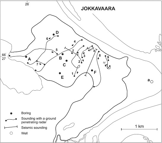 borings (sites -F) performed on the esker of Jokkavaara.