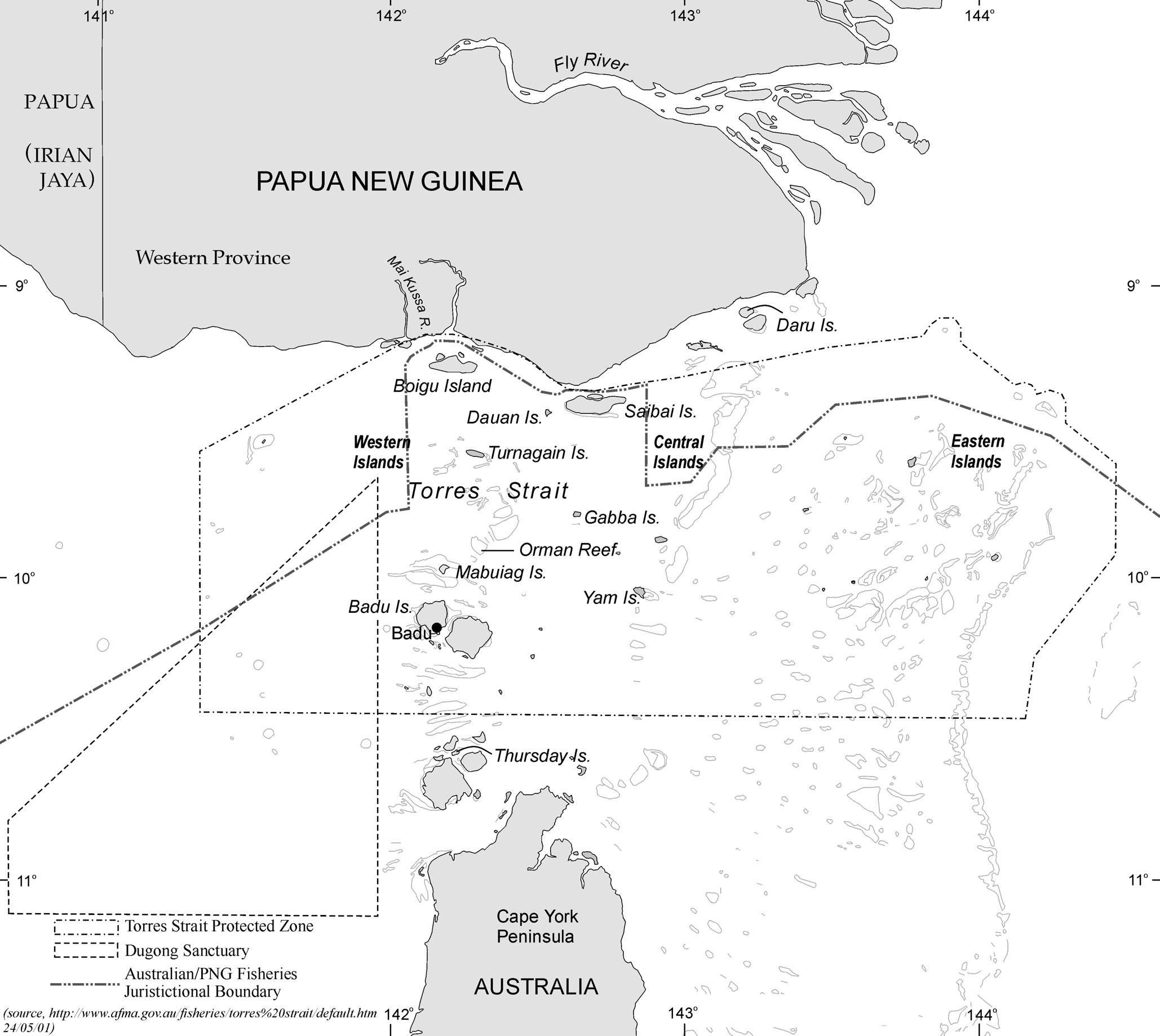 Figure 6.4 Torres Strait showing place names and legal boundaries mentioned in the text. Some scientists have disputed this conclusion (see Johannes & MacFarlane 1991).
