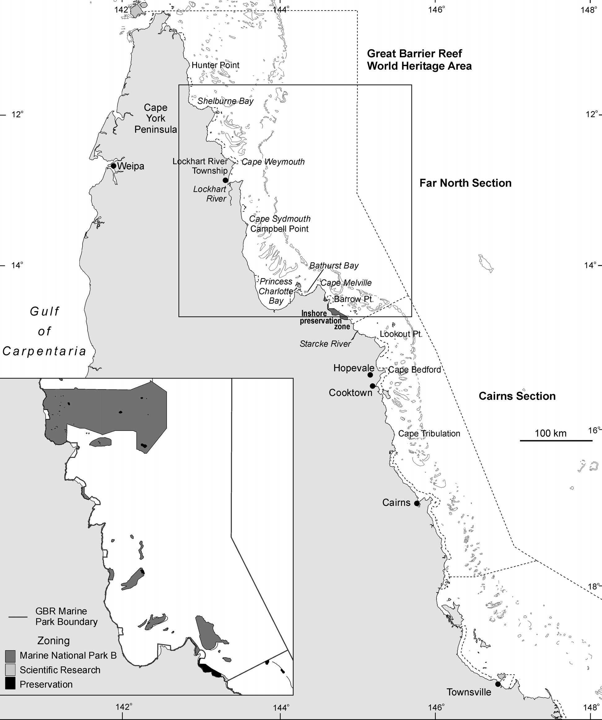 Figure 6.5 The northern section of the Great Barrier Reef World Heritage Area, Australia, showing place names mentioned in the text and areas zoned to protect dugongs.