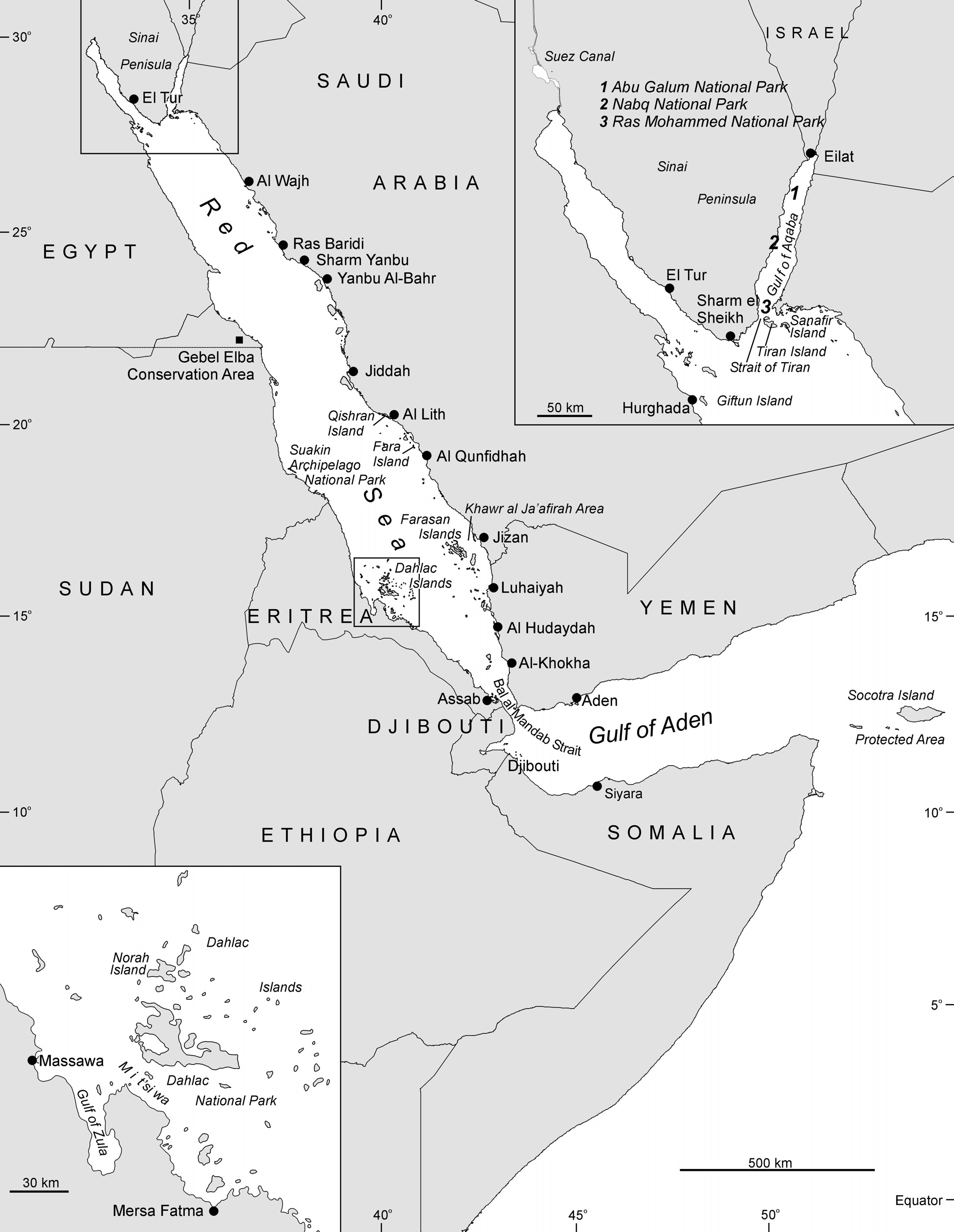 Figure 2.3 The Red Sea showing place names mentioned in the text.