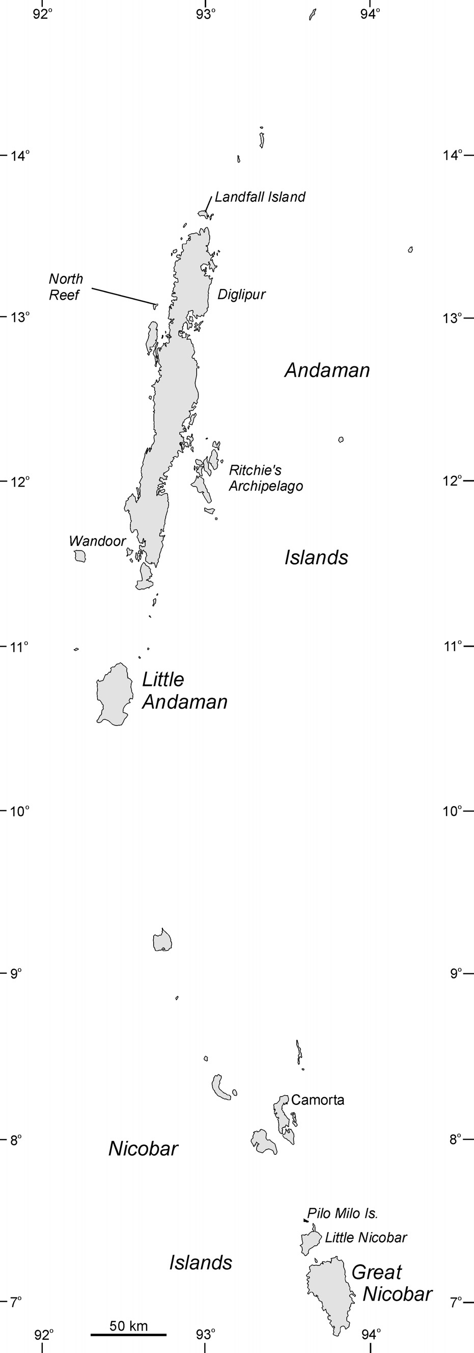 Figure 3.3 Andaman and Nicobar Islands showing place names mentioned in the text. (1989) concluded that Palk Strait and the Gulf of Mannar should be important areas for dugongs.