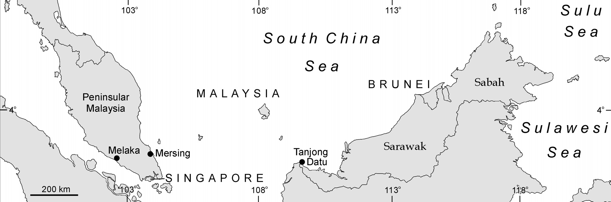 Figure 4.5 Malaysia, Singapore and Brunei showing place names mentioned in the text. occurred at Limbang and Lawas Districts to the north (Figure 4.6).