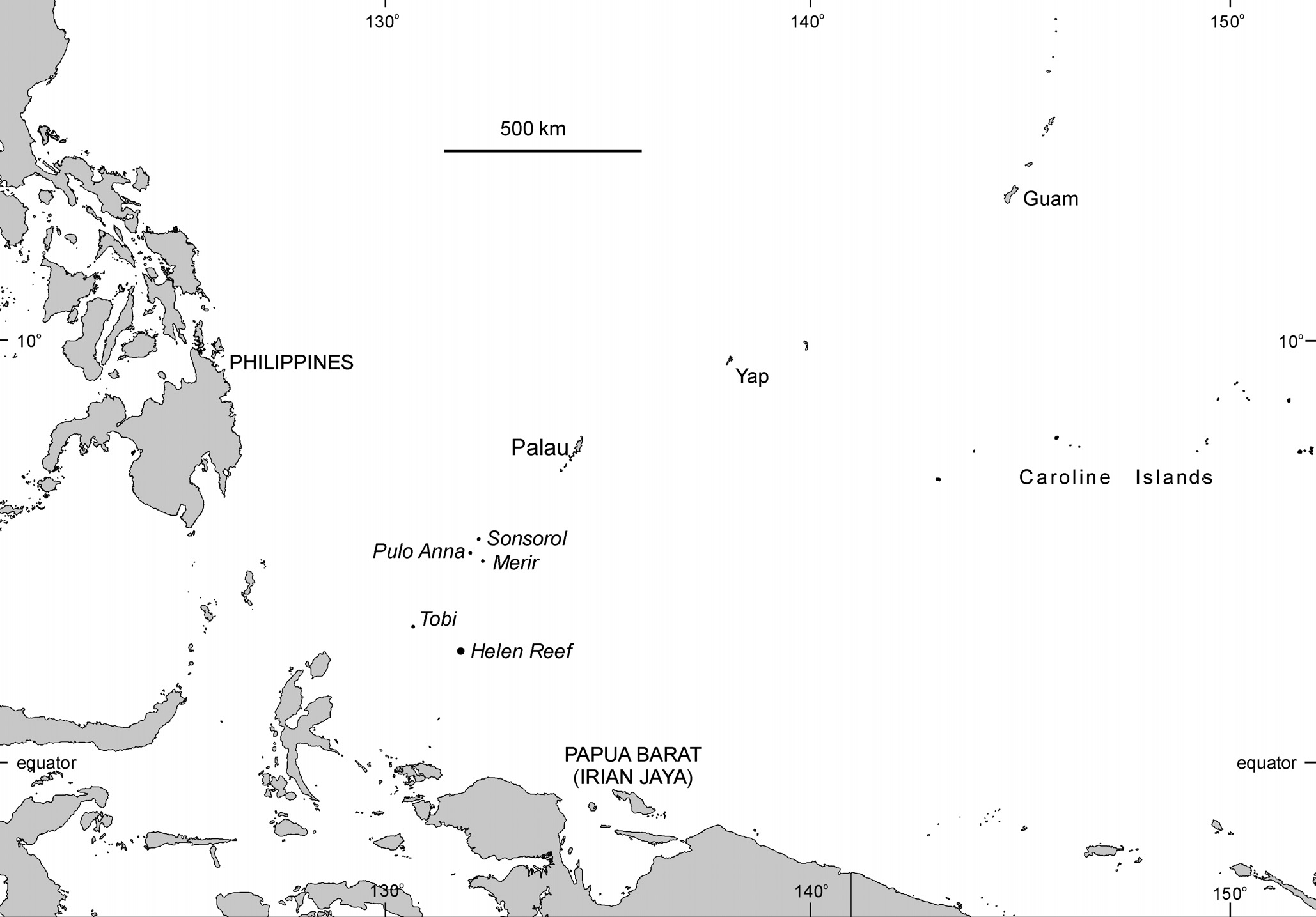 Figure 5.1 The Palau region in relation to the Philippines and Indonesia. used to give dugong ribs to a carver who had died recently.
