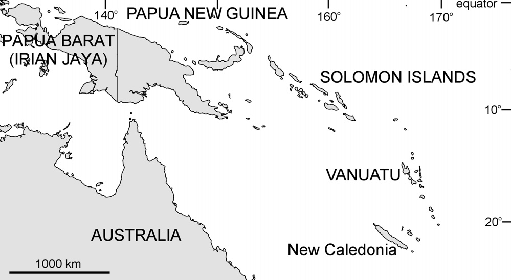 PAPUA NEW GUINEA, SOLOMON ISLANDS, NEW CALEDONIA AND VANUATU Distribution and Abundance Papua New Guinea Papua New Guinea (PNG) occupies the eastern half of the island of New Guinea, located just