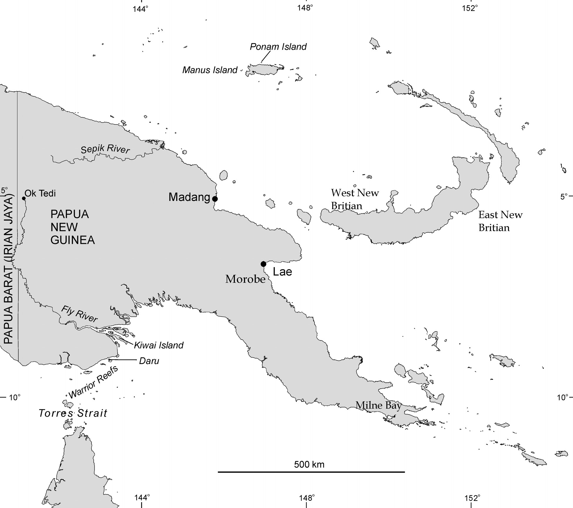 Papua New Guinea consists of over 600 islands bounded by coral reefs. To the west lies the Solomon Islands (Figure 5.3).