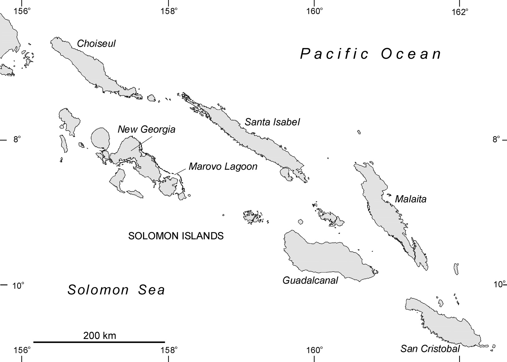Figure 5.5 Solomon Islands showing place names mentioned in the text.