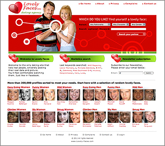 Debuting in February 2011, the Lovely-Faces.com Website showcased hundreds of thousands of scraped Facebook user profiles. Lovely-Faces.com was quickly taken down after Facebook threatened legal action.