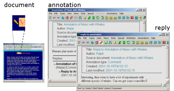 Annotea and Semantic Web Supported Collaboration 9 reviewers or other similar users while allowing a user to belong to several of these groups. Fig. 2. Amaya interface to annotations and replies.