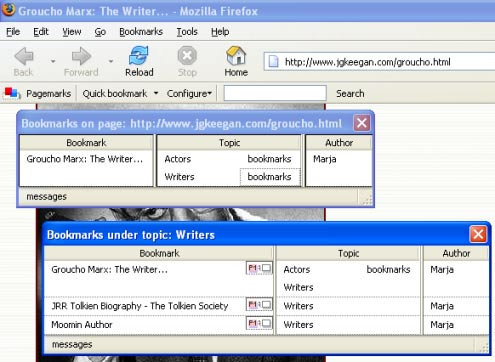 Annotea and Semantic Web Supported Collaboration 11 can see that someone has bookmarked a page from the pagemark icon that opens up to show a list of bookmarks. Fig. 4.