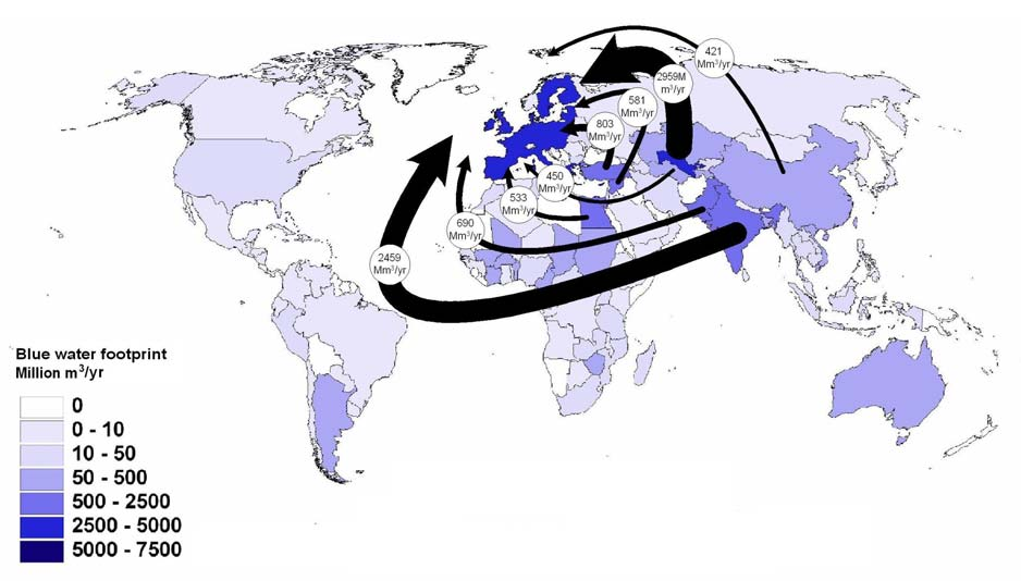 Figure 1. The global water footprint of cotton consumption in the European Union. Source: Chapagain et al. (2006).
