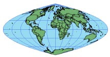CRASTER PARABOLIC Scale is true along latitudes 36 46' N and S. Scale is also constant along any given latitude and is symmetrical around the equator. Useful only as a world map. Thematic world maps.