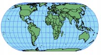 ECKERT IV parallels. Nearer the poles, features are compressed in the north south direction. Useful only as a world map. Thematic maps of the world such as climate. The central meridian is 0.