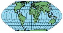 ECKERT VI parallels. Nearer the poles, features are compressed in the north south direction. Useful only as a world map. Suitable for thematic mapping of the world. The central meridian is 0.
