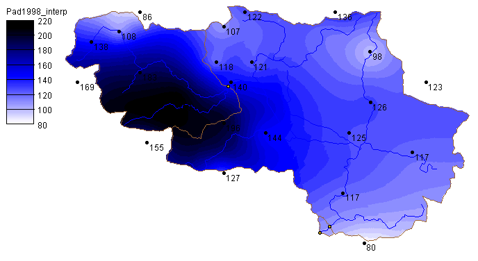 Figure 5: Integral precipitation distribution - flood wave 4 th 5 th of November 1998.